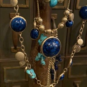 Chico's Turqoise and Lapis 2-strand Necklace